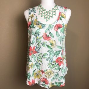 NWOT A New Day Floral Tank Top w/ Rounded Hem; Med